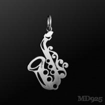 Sterling Silver Pendant Saxophone M