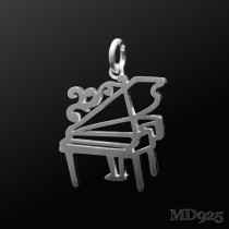 Sterling Silver Pendant Grand Piano S