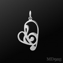 Sterling Silver Pendant Passionate S