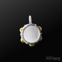 Sterling Silver Pendant 3D Tambourine